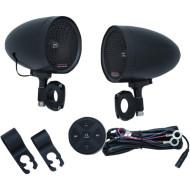 Černé Reproduktory Road Thunder® Bluetooth na řídítka pro motocykl Indian Scout