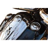 """2ks Chromové víčko nádrže """"Aztec"""" pro motocykl Indian Chief / Chieftain od Kuryakyn 7387"""